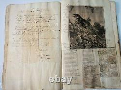1836 antique ENOS YARNALL SCRAPBOOK folk art poem clips handwritten CHESTER PA