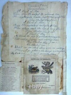 1848 antique LANCASTER PA orig FOLK ART, HANDWRIT POEM, REWARD MERIT FRAKTUR aafa