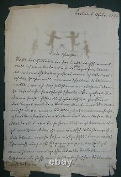 1884 antique signed ORIG PEN/INK FAIRY SILHOUETTE ART POEM german signed CUPID