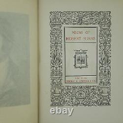 1900 Robert Burns Poems Poetical Works Rare Old Antique Art Nouveau Fine Binding