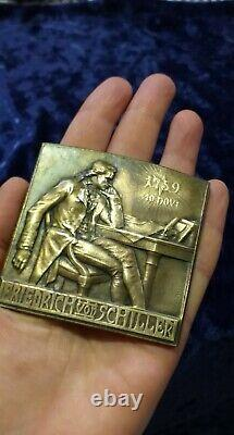 1909 German Poetry FRIEDRICH VON SCHILLER Bronze Art Medal Signed H. Kautsch