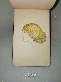 1911 Sketch Autograph Book Album Art Paintings drawings Poems pictures pre war