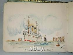 1916 Sketch Autograph Book Album Art Paintings drawings Poems + music exam cards