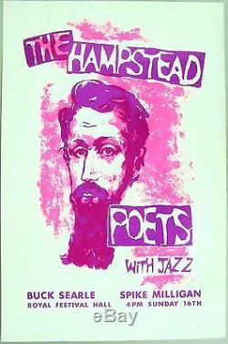 1961 British Poetry & Jazz Poster Hampstead Poets, Spike Milligan, Festival Hall
