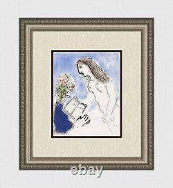 1973 Marc CHAGALL ORIGINAL Color Lithograph Lover of Poetry Gallery Framed COA