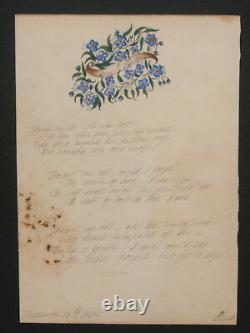 2 Antique Victorian Hand Drawn Folk Art Poem Poetry Letter 1830's