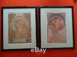 2 framed and matted Alphonse Mucha prints, 16x20, Zodiac and Poetry