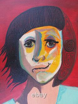 ABSTRACT painting GIBSON POATKTH folk art PORTRAIT fine art POEM children FRAMED