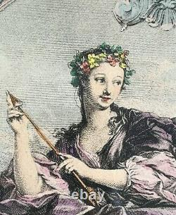 After François Boucher pair hand-colored engravings cherubs The Four Poems