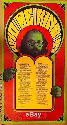 Allen Ginsberg Who Be Kind To Psychedelia Poem Silkscreen Broadside 1965 Vg++