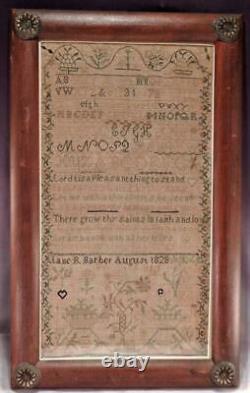 Antique 1828 American Sampler by JANE R. BARBERChristian PoemFolk Art Designs