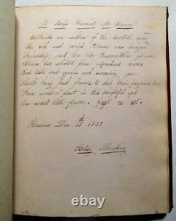 Antique 1830s HANDWRITTEN COMMONPLACE BOOK Poetry Journal LOCKS OF HAIR Folk Art