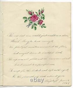 Antique 1837 HANDWRITTEN POETRY Manuscript Journal FOLK ART Commonplace Book