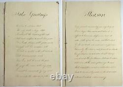 Antique 1839 HANDWRITTEN MANUSCRIPT Sketchbook WATERCOLOR PAINTINGS Poetry Book