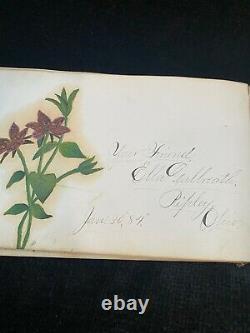 Antique 1881 Leather Autograph Album, New Philadelphia, Ohio withFolk Art Drawings