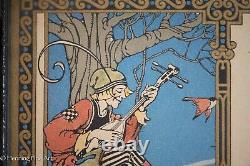 Antique Art Nouveau Print With Jester and Birds with Poem about Smiles, Fine