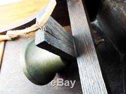 Antique Arts & Crafts Wooden Porch Dinner Bell Lord Byron Poem 1910s Brass Bell