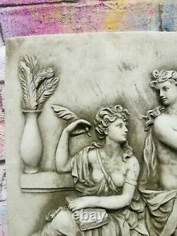 Antique Concrete Wall Plaque Art Hand Carved Jean Rousselet Poetry Music Vintage