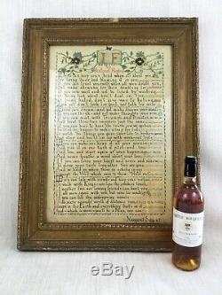 Antique Framed Painting Calligraphy Rudyard Kipling Poem IF Children's Artwork
