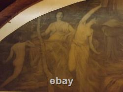 Antique Print Framed Glass Matted Lyric Poetry Nudes by Henry O. Walker Rare