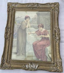 Antique Realism Watercolor W. Antsey Dollond (-1911) THE POEM