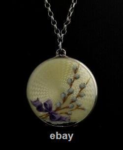 Antique silver and enamel locket, WW1 German poem, floral, Art Nouveau