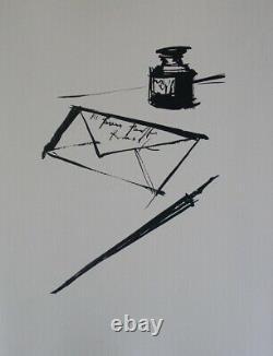 Bernard Buffet La Letter Engraving Black And White Signed 1961 197 Hand