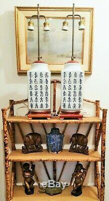 CHINESE CHARACTERS antique porcelain table lamp blue white vase vtg mcm poem art