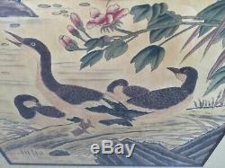 Chinese Early Xx. Century Hand Scroll Watercolor Painting With Nature Poem On Top
