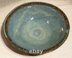 Don Goodrich Signed Studio Art Pottery Blue Glazed 11.5 Bowl Poem/Lyrics Rim
