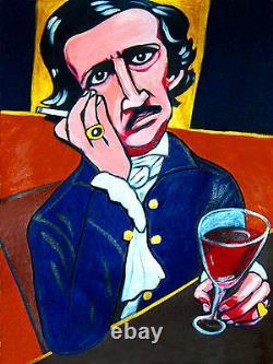 EDGAR ALLAN POE PRINT poster book raven works the bells tales poems wine glass