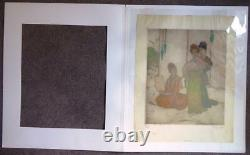 Elyse Ashe Lord large signed orientalist coloured etching The Poem number 2/75