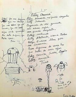 FRIDA KAHLO 13.75 x 11 INK PAPER DRAWING PERSONAL POEM, STYLED INTERVENTION