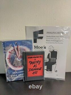 Ferlinghetti Lot SIGNED Poetry as Insurgent Art + Time of Useful Consciousness