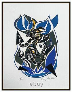 Francoise Gilot Color Lithograph Sur La Pierre Poems Scorpion Hand Signed Art