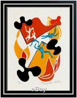 Francoise Gilot Sur La Pierre Poems Color Lithograph Hand Signed Abstract Dance