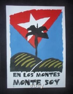 GUANTANAMERA Signed Cuba Screen-print Poster Salutes Famed Cuban JOSE MARTI Poem