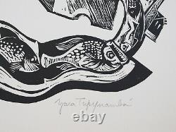 Gravura/Linocut by Yara Tupynambá after poem by Carlos Drummond de Andrade