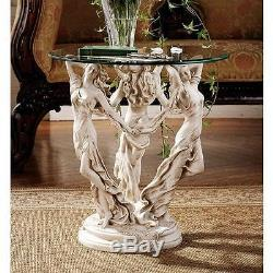 Greek Muses Goddesses of Poetry Art Science Glass Topped 20 Sculptural Table