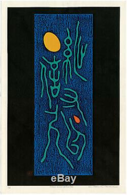 HAKU MAKI,'POEM 71-16', signed color woodcut, double Oban, c. 1969