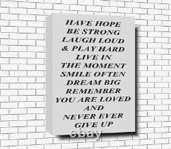 HAVE HOPE BE STRONG. Poem Word Art Canvas A0 A1 A2 A3 A4