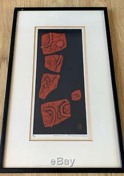 Haku Maki Poem-H Embossed Print Midcentury Art