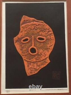 Haku Maki signed Intaglio print Poem 1971 Japan