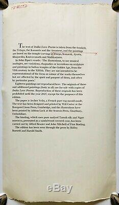 JOHN PIPER (1903-1992) -INDIA LOVE POEMS by TRAMBIMUTTU- SAMPLE FOR PROOF SIGNED