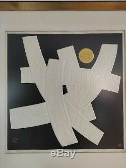 Japanese art Haku Maki Poem-H Embossed Print Midcentury Art