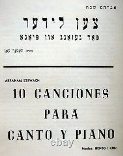Jewish YIDDISH SONGS Poems HOLOCAUST ART BOOK Composer HENECH KON Piano JUDAICA