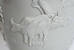 Jin Yin Tsui-Original Chinese Blanc de Chine Vase-Water Buffalo, Orchids, Poem