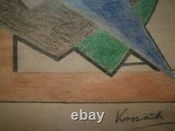 Kassak Lajos signed drawing with poem on verso. Hungarian modernism, dada