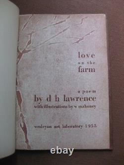 LOVE ON THE FARM poem by D. H. Lawrence 1955 Wesleyan art limited 1/4