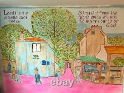 Lamaji Mural 9' x 7' Acrylic on Canvas Paris view with Rumi poem
